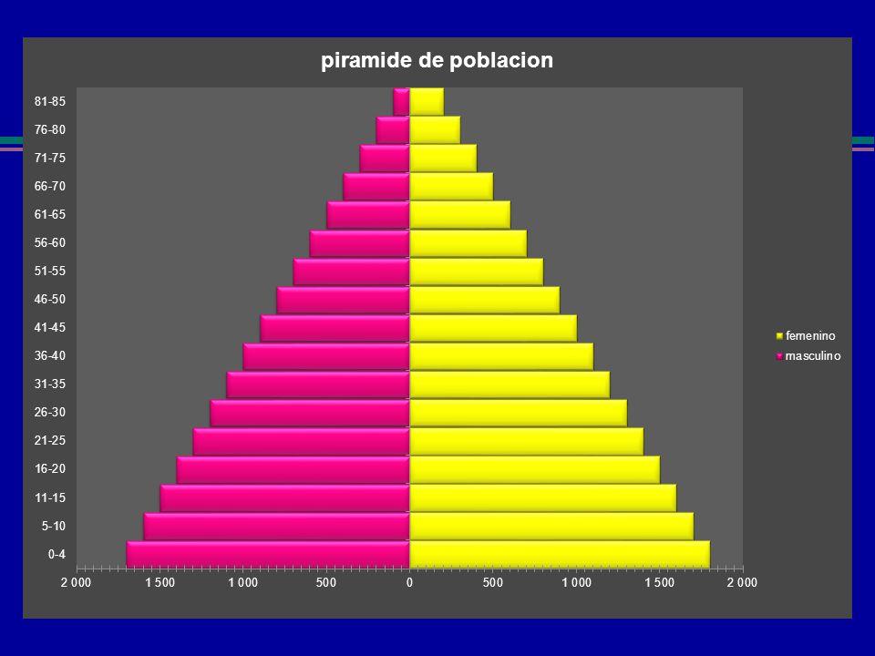 Indicador demográfico l Pirámides de población l 3 tipos: Pagoda Campana Bulbo