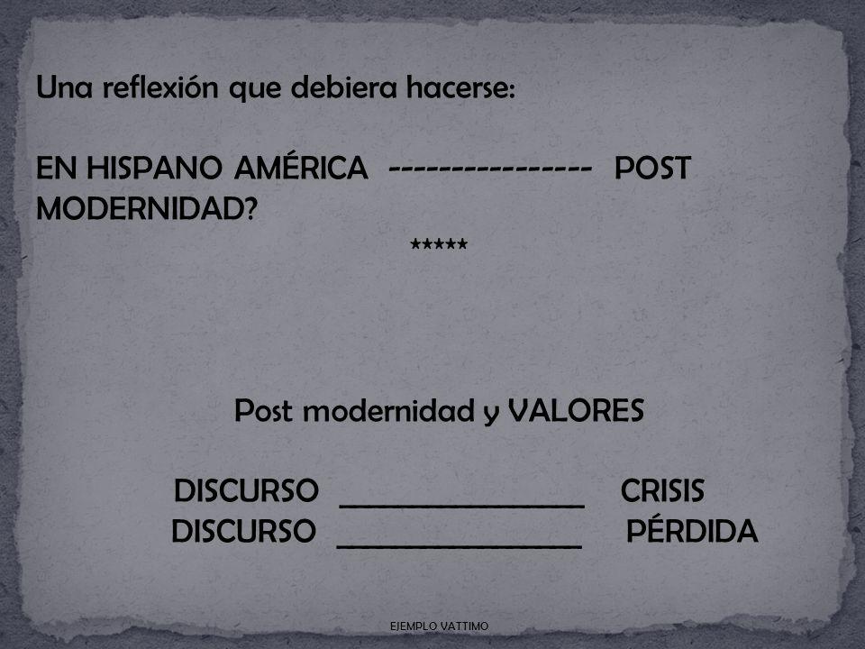 Una reflexión que debiera hacerse: EN HISPANO AMÉRICA ---------------- POST MODERNIDAD.