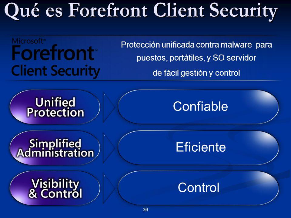 Una única solución para la protección spyware y virus Una única solución para la protección spyware y virus Tecnología de protección utilizada en millones de puestos Tecnología de protección utilizada en millones de puestos Respuesta efectiva ante amenazas Respuesta efectiva ante amenazas Complementario a otros productos de seguridad de Microsoft Complementario a otros productos de seguridad de Microsoft 37