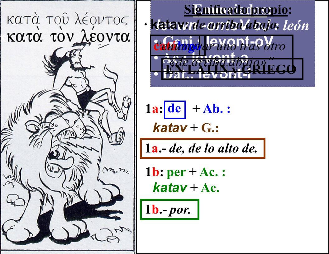 Enunciados: levwn -ontoV oJ : león Geni.: levont-oV Ac.: levont-a Dat.: levont-i Significado propio: · katav : de arriba abajo.