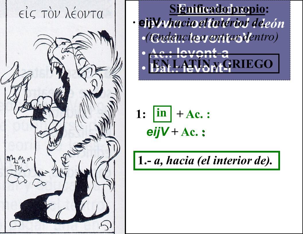 Enunciados: levwn -ontoV oJ : león Geni.: levont-oV Ac.: levont-a Dat.: levont-i Significado propio: · eijV : hacia el interior de.