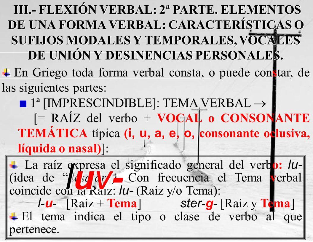 La raíz expresa el significado general del verbo: lu- (idea de desatar).