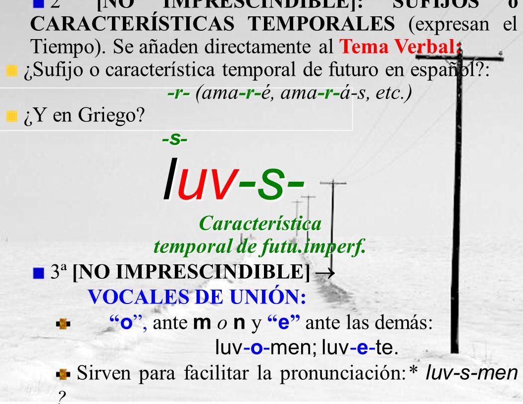 2ª [NO IMPRESCINDIBLE]: SUFIJOS o CARACTERÍSTICAS TEMPORALES (expresan el Tiempo).