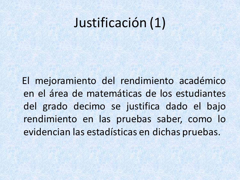 Justificación (2) Además, este proyecto garantiza que la institución en su conjunto se vera beneficiada, pues el programa ejecutado en grado decimo se tomará como una prueba piloto para toda la institución.