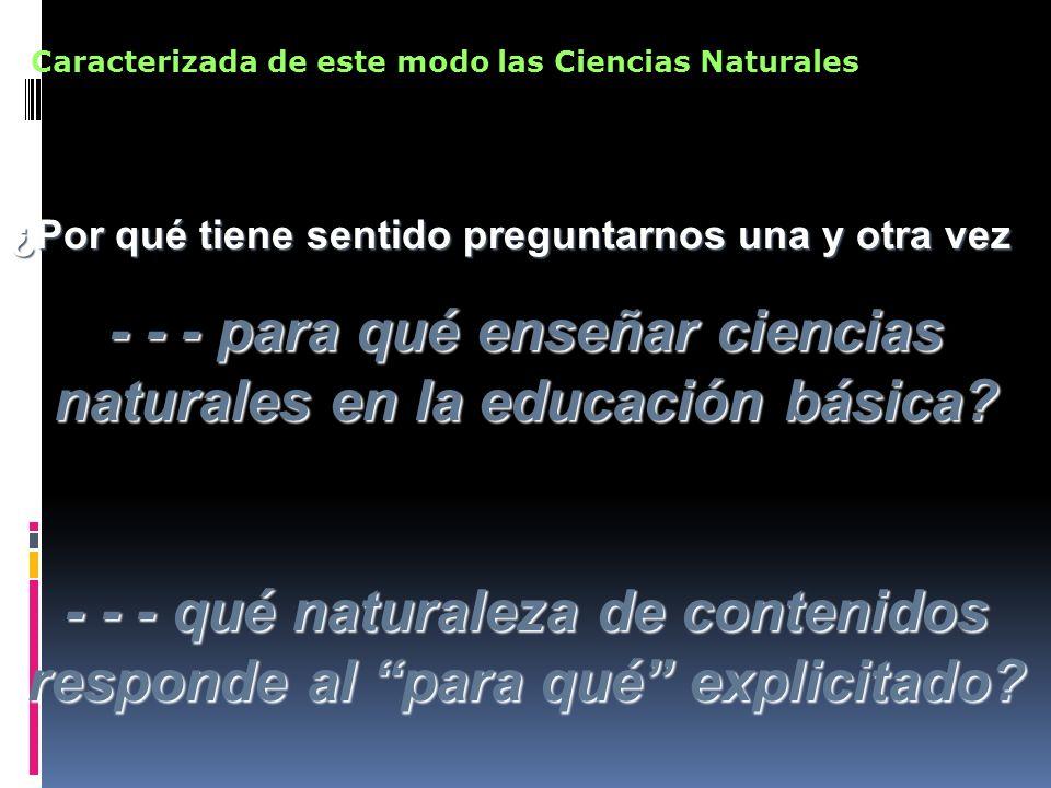 Cuando miramos lo que ocurre en la educación básica … Lo que la ciencia dice Está muy privilegiado por sobre Lo que la ciencia hace Cómo la ciencia enuncia