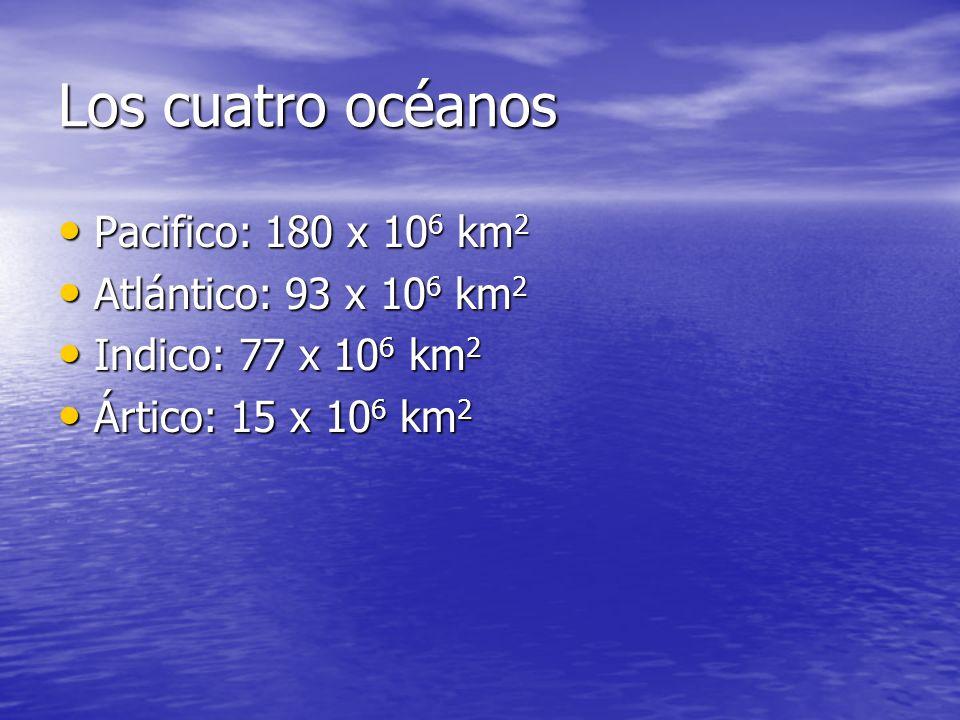 Océano Área de superficie (10 6 km 2 ) Volumen de agua (10 6 km 3 ) Profundidad promedio (km) Profundidad máxima (km) Área de Islas 10 6 km 2 10 6 km 2 Pacifico Atlántico IndicoÁrtico180937715700335285174.23.63.71.111.09.27.55.23.91.00.83.8 Dimensión y estructuras de los océanos Fuente:Oceanography: An Introduction to Planet Oceanus, Paul.