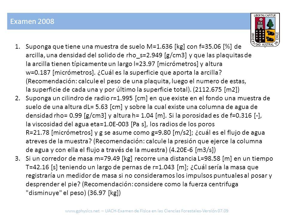 Examen 2008 www.gphysics.net – UACH-Examen de Física en las Ciencias Forestales-Versión 07.09 4.¿Cuál es la potencia que requiere un pájaro de masa m_ave= 0.69 [kg], superficie de ala A_alas=0.180 [m2], coeficiente de sustentación CL= 1.07 [-], sección de resistencia A_seccion=0.009 [m2], coeficiente de resistencia Cw= 0.21 [-] para volar en aire de densidad rho_aire= 1.32 [kg/m3].