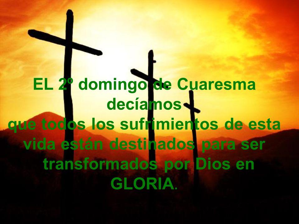 EL 2º domingo de Cuaresma decíamos que todos los sufrimientos de esta vida están destinados para ser transformados por Dios en GLORIA.