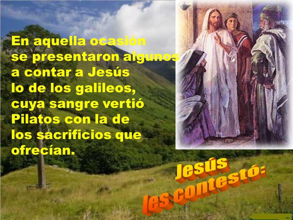 En aquella ocasión se presentaron algunos a contar a Jesús lo de los galileos, cuya sangre vertió Pilatos con la de los sacrificios que ofrecían.