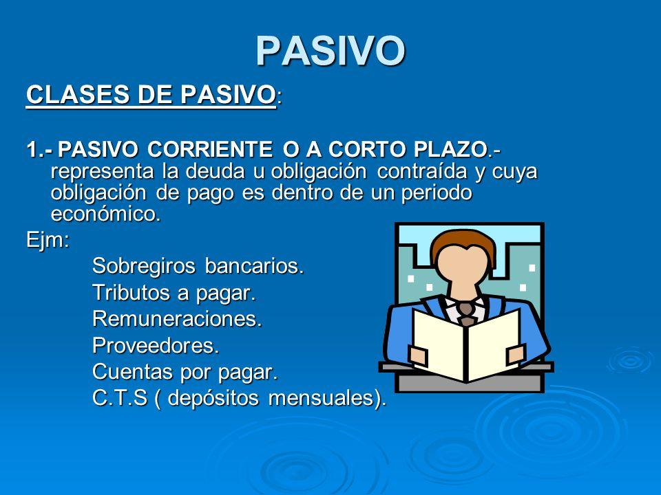 2.- PASIVO NO CORRIENTE O A LARGO PLAZO: agrupa las deudas, obligaciones y compromisos que contrae una empresa y cuya obligación de pago es en más de un ejercicio contable.
