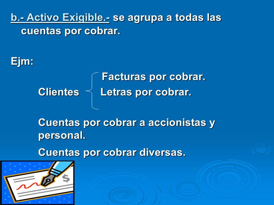 c.- Activo Realizable.- formado por las existencias (generalmente en almacén) y que realizando una transacción comercial se puede convertir en efectivo.