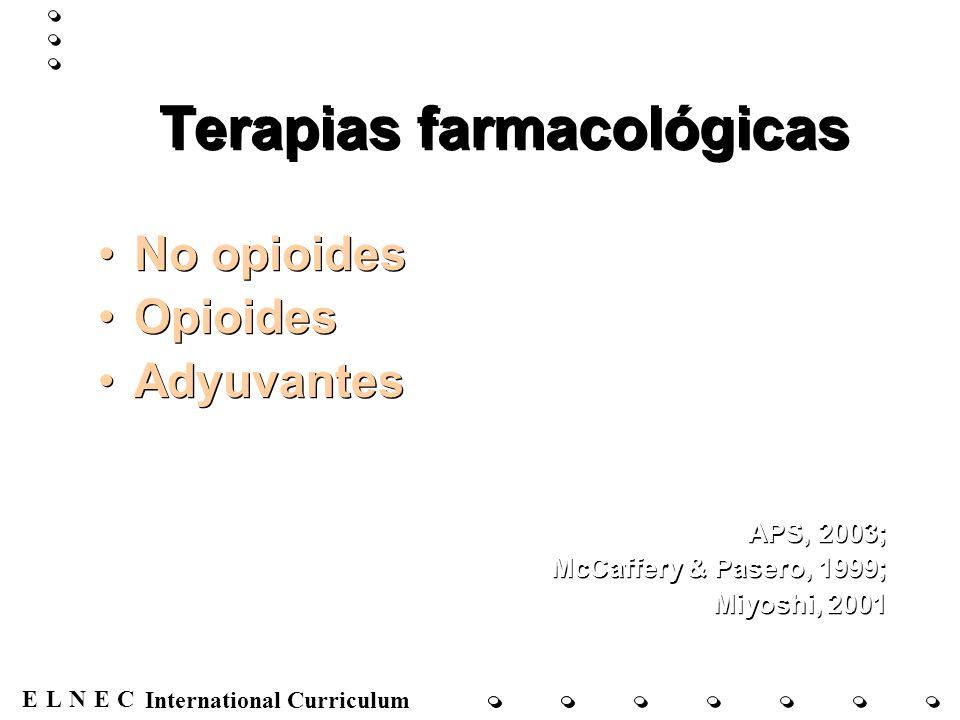 ENECL International Curriculum No opioides Paracetamol Antiinflamatorios no esteroides APS, 2003; McCaffery & Pasero, 1999; Miyoshi, 2001 Paracetamol Antiinflamatorios no esteroides APS, 2003; McCaffery & Pasero, 1999; Miyoshi, 2001