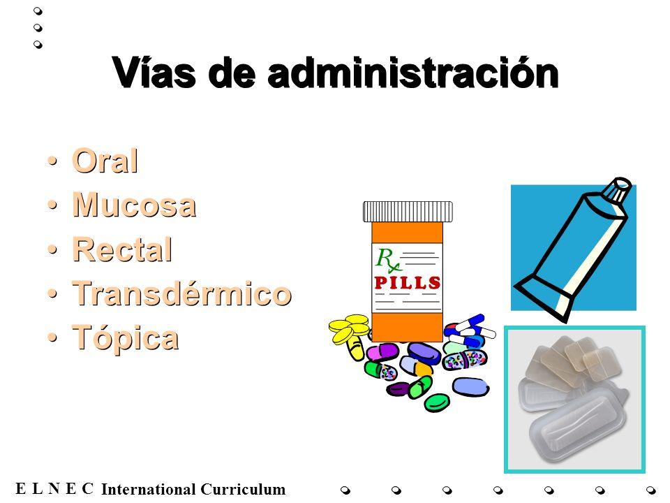 ENECL International Curriculum Vías de administración (cont.) Parenteral –Intravenosa –Subcutánea –Intramuscular Parenteral –Intravenosa –Subcutánea –Intramuscular