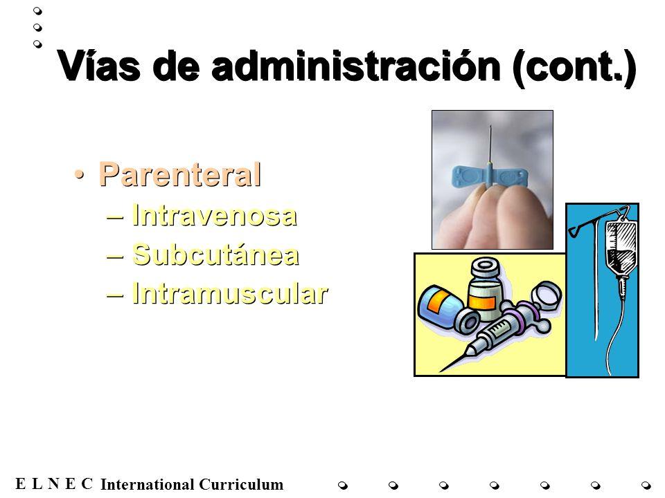 ENECL International Curriculum Vías de administración (cont.) Raquídea –Epidural –Intratecal Raquídea –Epidural –Intratecal