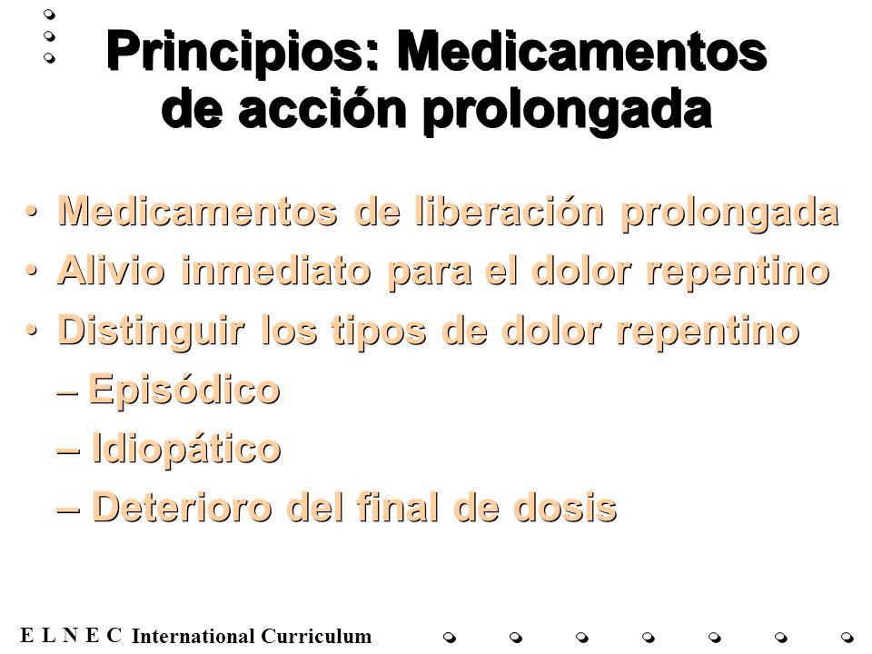 ENECL International Curriculum Principios de la equianalgesia Determinar dosis equivalentes cuando se cambian los fármacos o las vías de administración Reducirla en un 25% cuando se cambian los fármacos Uso de los equivalentes de la morfina Determinar dosis equivalentes cuando se cambian los fármacos o las vías de administración Reducirla en un 25% cuando se cambian los fármacos Uso de los equivalentes de la morfina
