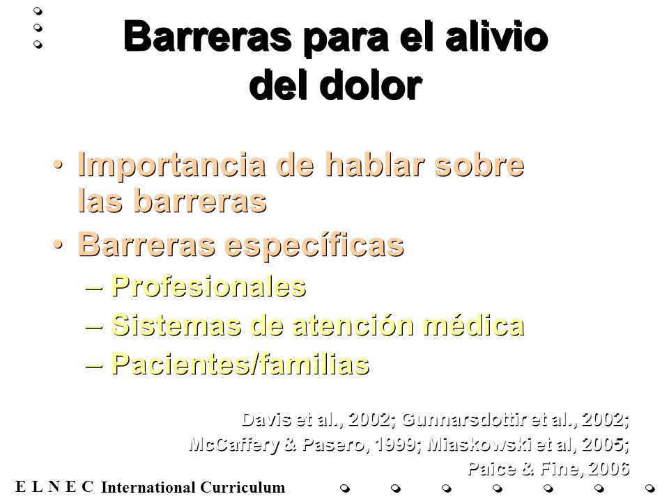 ENECL International Curriculum Evaluación del dolor Historia del dolor Términos sobre el dolor Agudo vs.