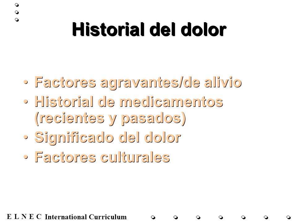 ENECL International Curriculum Examen físico Observación Palpación Auscultación Percusión Observación Palpación Auscultación Percusión