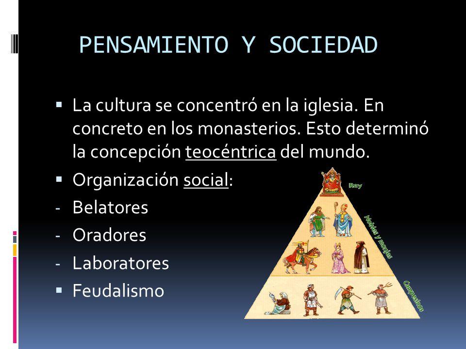 Organización de la sociedad: - Nobleza (fuerza política y militar) - Clero - Pueblo llano: Dedicado a la agricultura.