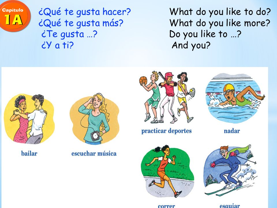 ¿Qué te gusta hacer.What do you like to do. ¿Qué te gusta más.