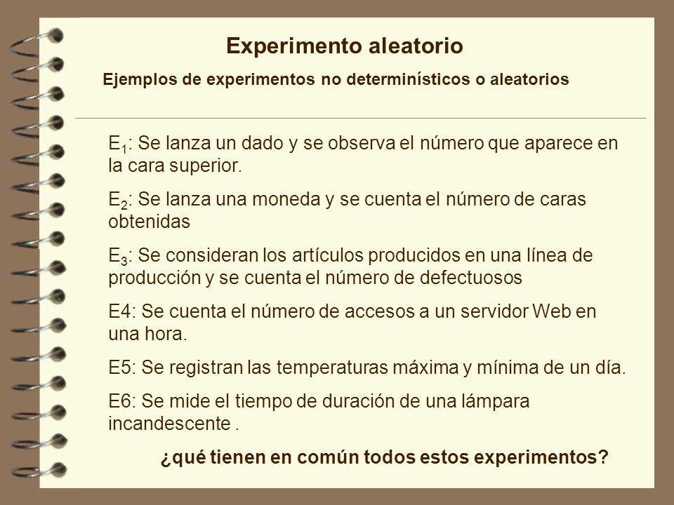 Experimento aleatorio Características de un experimento aleatorio 1.