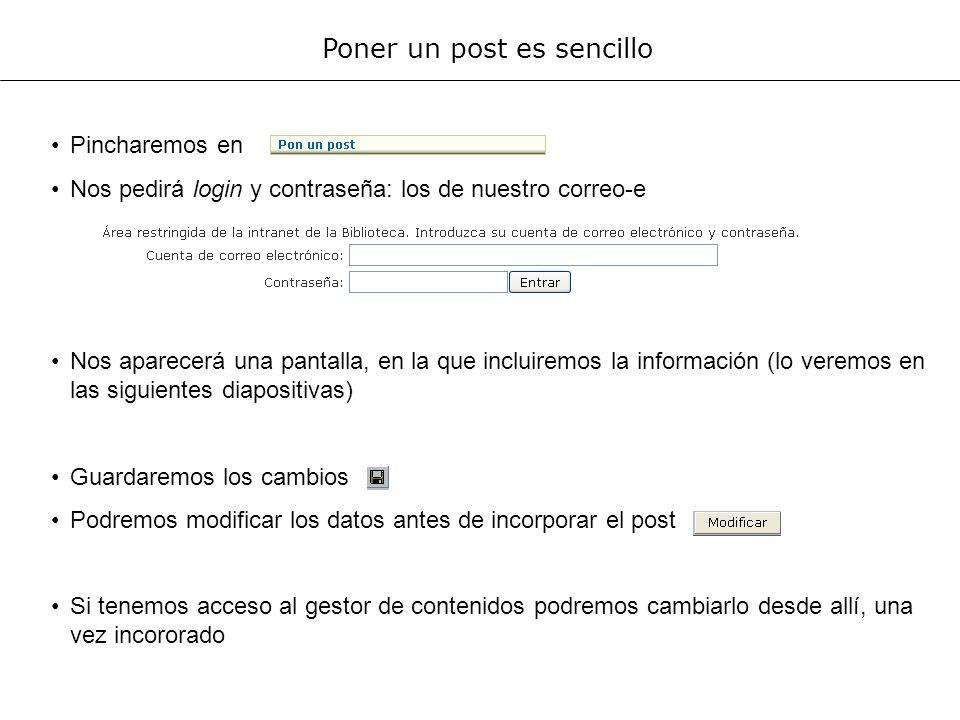 Dividiremos la pantalla en dos partes, para explicarla Parte del texto visible al abrir el blog.