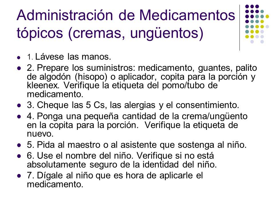 Administración de Medicamentos tópicos (cremas, ungüentos) 8.