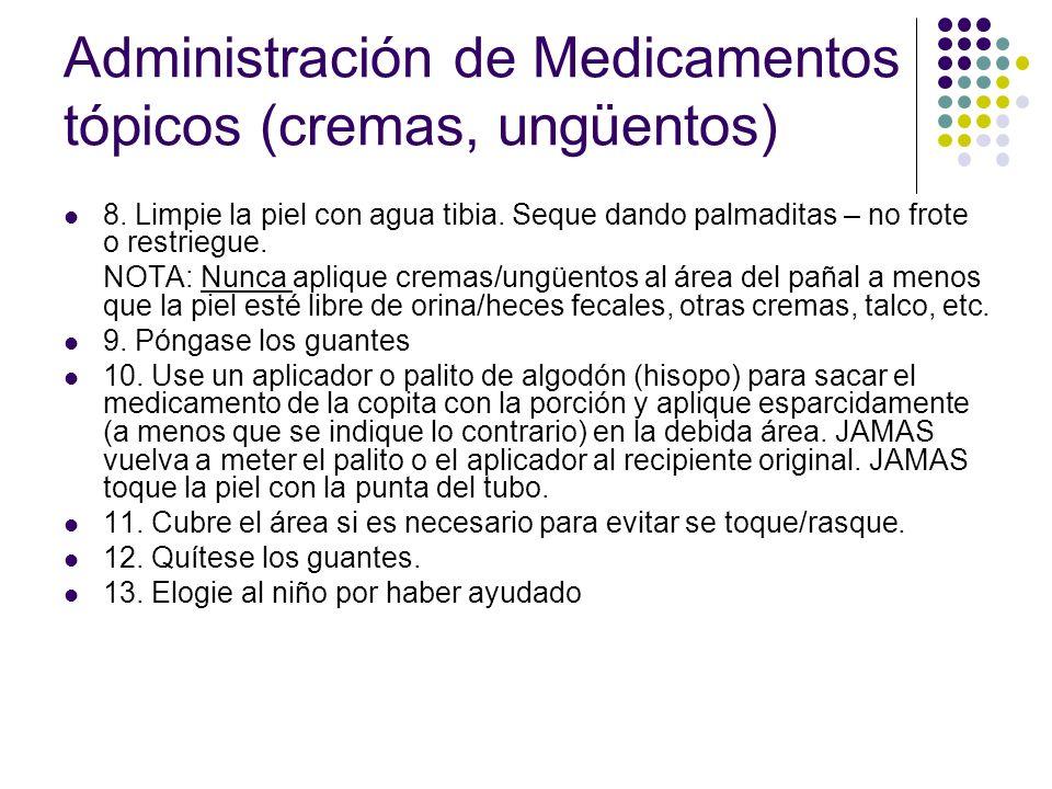Administración de Medicamentos tópicos (cremas, ungüentos) 14.