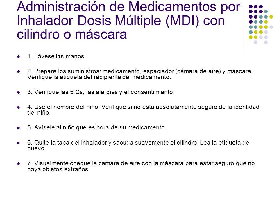 Administración de Medicamentos por Inhalador Dosis Múltiple (MDI) de cámara y máscara 8.