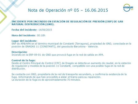 0 INCIDENTE POR INCENDIO EN ESTACIÓN DE REGULACIÓN DE PRESIÓN (ERP) DE GAS NATURAL DISTRIBUCIÓN (GND). Fecha del incidente: 14/06/2015 Hora del incidente: