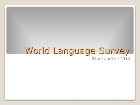World Language Survey 28 de abril de 2014 1.