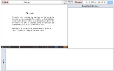 Description for Developer Audio SubjectLO File name Ciencias Sinopsis Animación nos muestra los cambios que ha sufrido la tierra, se verá como estaban.