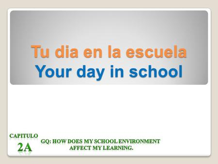 Tu dia en la escuela Your day in school Tu dia en la escuela In Chapter 2A we will learn: Class periods/ordinal numbers Classes describing classes what.