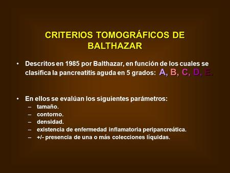CRITERIOS TOMOGRÁFICOS DE BALTHAZAR