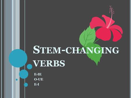 S TEM - CHANGING VERBS E-IE O-UE E-I. W HAT IS A STEM ? First, let's find out what a verb stem is!