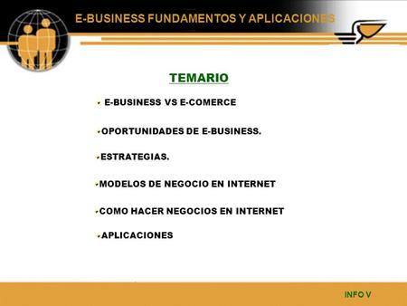 TEMARIO E-BUSINESS VS E-COMERCE OPORTUNIDADES DE E-BUSINESS.