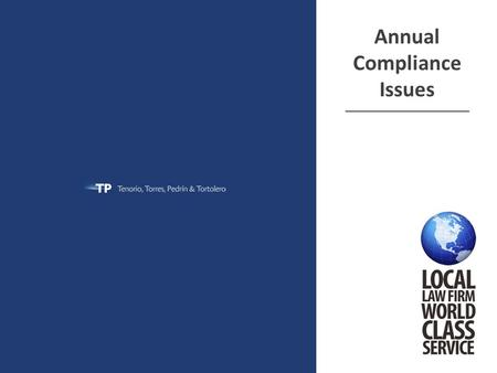 Annual Compliance Issues ______________________________.