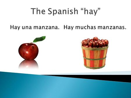 " In Spanish you say  In English you say ""hay"" ""there is"" ""there are"""