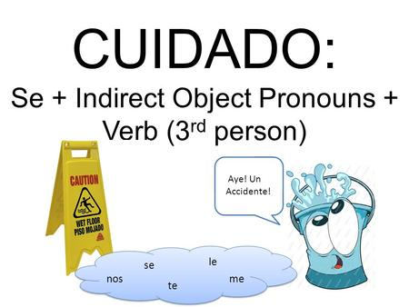 CUIDADO: Se + Indirect Object Pronouns + Verb (3 rd person) se le te nosme Aye! Un Accidente!