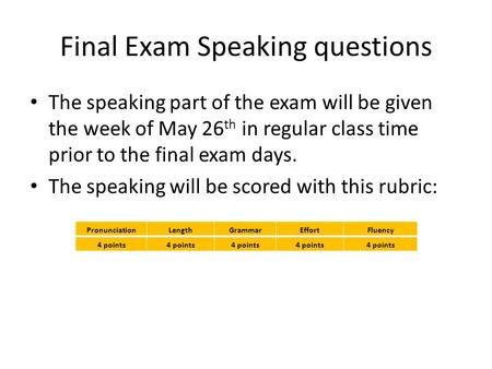 Final Exam Speaking questions The speaking part of the exam will be given the week of May 26 th in regular class time prior to the final exam days. The.