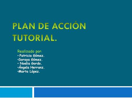 PLAN DE ACCIÓN TUTORIAL.