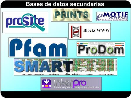Bases de datos secundarias. Briefings in Bioinformatics 3 (2002): 265-274.