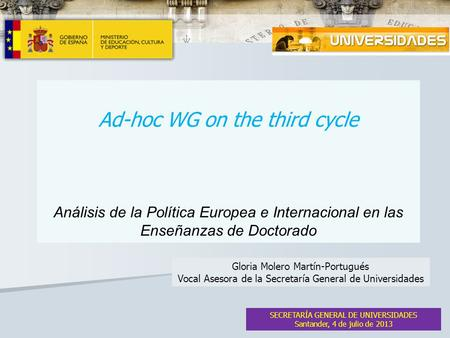 Ad-hoc WG on the third cycle Análisis de la Política Europea e Internacional en las Enseñanzas de Doctorado SECRETARÍA GENERAL DE UNIVERSIDADES Santander,