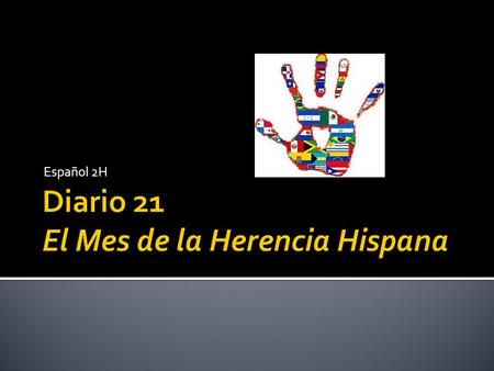 Español 2H. 1. El Mes de la Herencia Hispana 2. Hispanoamericano 3. Hispanohablante 4. Hispano 5. Latino 6. True or False: All Hispanics are from countries.