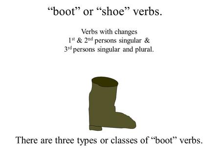 """boot"" or ""shoe"" verbs. There are three types or classes of ""boot"" verbs. Verbs with changes 1 st & 2 nd persons singular & 3 rd persons singular and."