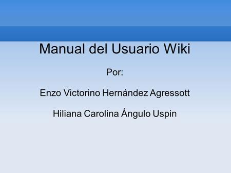 Manual del Usuario Wiki