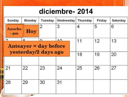 Ayer Hoy Anoche - pm diciembre- 2014 Anteayer = day before yesterday/2 days ago.
