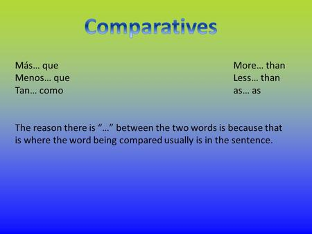 "Más… queMore… than Menos… queLess… than Tan… comoas… as The reason there is ""…"" between the two words is because that is where the word being compared."