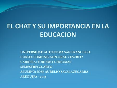 EL CHAT Y SU IMPORTANCIA EN LA EDUCACION