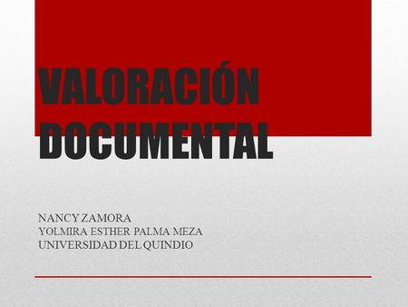 VALORACIÓN DOCUMENTAL NANCY ZAMORA YOLMIRA ESTHER PALMA MEZA UNIVERSIDAD DEL QUINDIO.