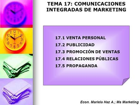 TEMA 17: COMUNICACIONES INTEGRADAS DE MARKETING